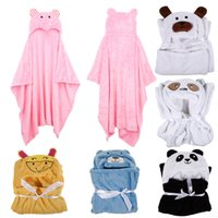 Wholesale Cute Animal Flannel Blanket Cartoon Baby Kid s Hooded Bath Towel Children Toddler Blankets