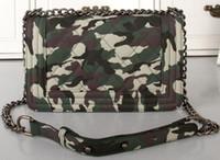 Wholesale green COWBOY CLOTH CAMOUFLAGE LE BOY CHAIN BAG FLAP BAG LE BOY Bag