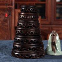 antique mahogany beds - A set of seven wood wooden base mahogany antique tea cup base base crafts