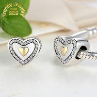 Livraison gratuite Argent 925 Joyeux anniversaire avec Clear CZ et Or Perles charme européen flottant pour Charms DIY Bracelet