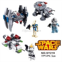 Bon Marché Action de guerre-3pcs / set NOUVEAU Star Wars warships spaceship clone wars star wars troopers navires Building Blocks PVC Action Mini Figurines Jouets E184