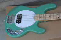 Music Man 5 cuerdas graves Erime bola de la pastinaca de la guitarra eléctrica verde menta Arce Diapasón batería de 9V Activo Pastillas blanca Pickguard