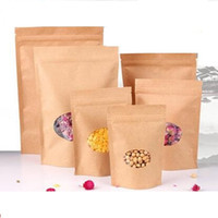 Wholesale Kraft paper packaging bag thicken Valve bag standing pouch food tea packaging bag frosted opening window