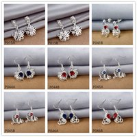 Wholesale factory direct sale fashion women s gemstone silver earring pairs mixed style cheap sterling silver Dangle Chandelier earrings GTP7