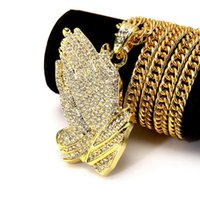Wholesale Micro CZ K Yellow Gold Filled Hip Hop Mens Iced Out Pendant Necklace