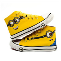 fabric painting - 2016 Cartoon anime figure despicable me minion shoes hand painted kids canvas casual sneakers children shoes sizes