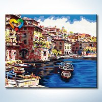 art towns - Flower Town Wall Art DIY Painting Baby Toys x50cm Coloring Canvas Oil Painting Drawing Wall Art for Children with Wooden Frame