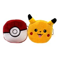 Wholesale Cartoon Poke Go Pikachu Plush Coin Purse Children Zipper Change Cute Poke ball Purse Wallet Pouch Bag For Kids Gift