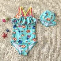 Wholesale Finding Nemo Dory Kids Summer Sun resistant Bikini Girls Kids Cartoon Swimsuit One Piece New Fashion Frilling Swimwear With Swim Caps