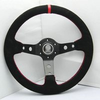 Wholesale Brand New Universal Fits Sport mm Second Level Leather Deep Dish Steering Wheel Red With Red Strip