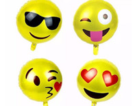 Wholesale QQ expression smile face foil balloons inch smiley helium balloon child kids birthday party decoration balls christmas