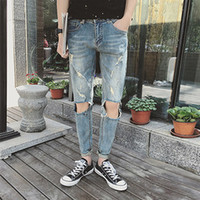Wholesale New arrived famous brand mens skinny pants for men straight Jeans casual mens hole patch patch beggars