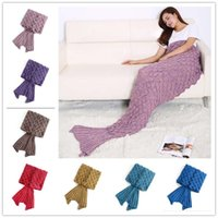 Wholesale Adult Mermaid Tail Blanket Soft Hand Crocheted Sofa Blanket Mermaid Tail Sleeping Bags air condition blanket CM B0722