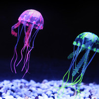 Wholesale 5 Colors Optional cm Artificial Glowing Jellyfish with Sucker Fish Tank Aquarium Decoration Aquariums Ornaments Accessories