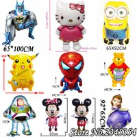 Wholesale Cartoon Helium Foil Balloons Mickey Minnie Pikachu Sofia Kitty Minions Ballons For Kids Birthday Wedding Party Decoration Kids Toys Balloon