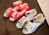 Wholesale 2016 Children Summer Shoes New Girls Sandals Heels Fish Mouth Shoes Princess Snow Colors Glass Slipper red and blue