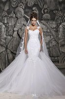 Cheap 2014 berta summer beach spaghetti straps backless Lace appliques Mermaid Wedding Dresses Bridal Gowns
