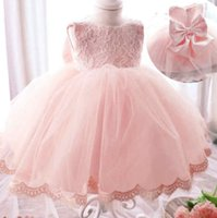 Wholesale Children s dress explosion models New pattern Girl Bow Lace Princess Dress Long sleeve Sleeveless dress cm sales