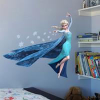 Calcomanías de decoración de la habitación Baratos-3D congelada reina Elsa extraíble pegatinas de pared decorativos 45 * 60 cm PVC de la historieta de los niños del arte del sitio Decoración cáscara y palillo Vinilos decorativos