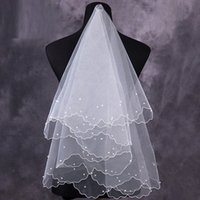 Wholesale New Cheap Bridal Veils Pearls Handmade Elbow Length White Ivory Fashion Wedding Accessories In Stock