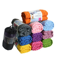 Wholesale 72 quot Long x quot Wide Six Colors Ultra Fine Micro Fiber Non Slip Yoga Towel Mat with Drawstring Bag