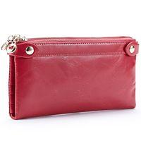 bi bags - Fashion Double zipper wax cowhide leather wallet women ladies long bi fold wallet clutches purses Colors