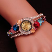 bangle watches - Gift For Women Quartz Watch Lattest Colors Wristwatch Women Bangle K Gold Plated Crystal Opal GENEVA Watches
