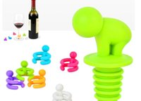 Wholesale Silicone Champagne Red Wine Bottle Sealer Stopper Wine Glass With Rubber Bottle Drink Cup Marker Kits