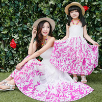 Wholesale Family Matching Outfits summer Dress new strap sleeveless Slim Long printing stitching Family suits mother daughter clothing fashion