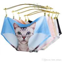 Wholesale Newest Ladies Underwear Cute D Cat Panties Sexy Mid Waist Underwear Animal Panties Nylon Sexy Briefs