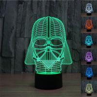 Cheap 3D Star Wars Darth Vader Model 7 Color Change Fantastic USB Touch Button LED Desk Table Light Lamp