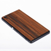 For Apple iPhone Metal White Z2 With Logo Retro Real Wood Sticker Of Phone Case For Sony Xperia Z2 Deluxe Luxury Phone Wood Stickers Label Cases