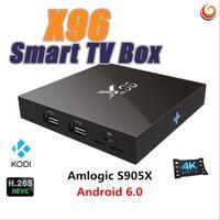 Wholesale 1pcs New X96 Smart Android TV Box G G Amlogic S905X Quad Core Wifi HDMI A K Kodi Marshmallow Media KODI