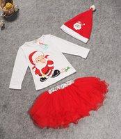 baby long sleeve dress pattern - newborn Girls Christmas Dress Suits T Shirt hat tutu Skirt Long Sleeve dresses Cartoon Deer Pattern Outfits Sets Baby Kids Clothing