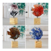 art furnishings decor - Lucky Fish Glass Ornaments Creative Kissing Fish Practical Furnishings Glass Decoration Crafts Ornaments withPedestal for Home Decor