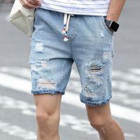 bermuda jeans shorts - Korean Style Denim Jeans Shorts Men Drawstring Blue White Hole Ripped Cotton Shorts Man Casual Mens Bermuda Shorts Homme Sale
