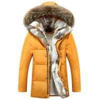 Wholesale Fall new men coat luxury design racoon fur collar with rabbit fur inside coat white duck down mens winter parka with fur hood