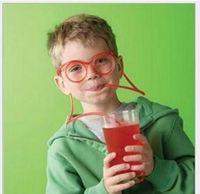 plastic barware - Flexible Plastic Drinking Sunglasses Straws Funny Kid Colorful Soft Glasses DIY Straw Unique Drink Sunglasses Tube Kids Party Gift Barware