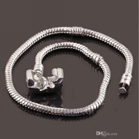Wholesale 16 to cm Sterling Silver Plated Snake Chain Bracelet Fit European Beads With