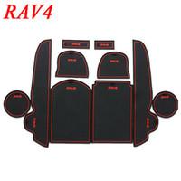 Wholesale 10pcs set TOYOTA RAV4 RAV High Quality Rubber Gate Slot Mat Pad Teacup Pad Non slip Pads Mats Red Blue White