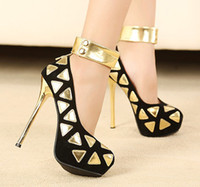 Wholesale Summer Women Pumps Ladies Sexy Penelled Triangle Gold Platform High Heels Female Soft Shoes Party Wedding Sandals