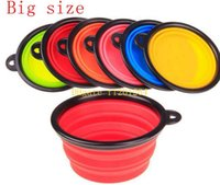 Wholesale 200pcs x67mm Big size Pet bowls silicone Bowl folding portable dog bowls For food the dog drinking water bowl