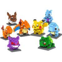 Wholesale Go Blocks Minifigure Educational Toys Blocks Nano Block DIY Pikachu Charmander Figure Model Toys Miniature Diamond
