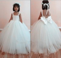 big cupcake - White spaghetti ball gown big bow sequire floor length flower girls pageant dresses teen formal toddler for little girls glitz cupcake