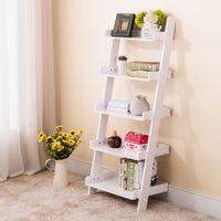 bamboo wood furniture - 5 Tier Leaning Ladder Wall Shelf Bookcase Storage Bookshelf Wood Furniture White