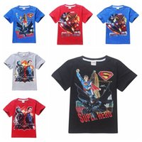 batman novelties - Boys Cartoon T shirts Batman VS Superman Kids Short Sleeve Summer Tee Shirts Captain American Kids Cartoon TShirts Cotton Kids Clothes