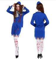 air stewardess costume - 2016 New Adults Female Women Ghost Bloody Stewardess Air HostessTwo peciece Garment Stage Wear Horror Halloween Roleplay Cosplay Costume