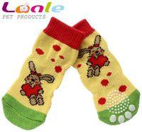 Wholesale Cartoon yellow color rabbit pattern lengthened pet dog socks