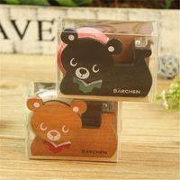 Wholesale Without tape Cute Bear Shape Wooden Tape DispenserTape Dispenser Good Quality