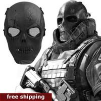 airsoft face shield - Skull Skeleton Airsoft Paintball BB Gun Full Face Protect Mask Shot Helmets Foam padded inside Black eye shield Full Cover